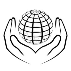 Vector illustration of hands holding a globe