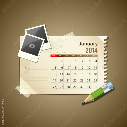 Calendar January 2014, vintage paper note, vector