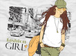 Fashion girl in sketch-style on a city-background. Vector illust