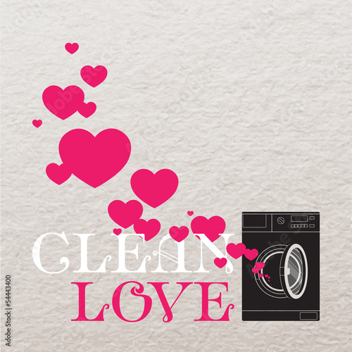 Abstract vector illustration of washing machine and hearts.