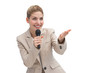 Businesswoman with microphone showing something