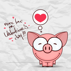 Valentine´s day greeting card with funny cartoon pig.