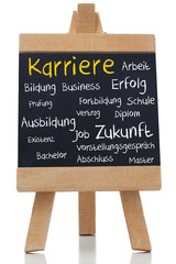 Career written in yellow with a chalk in german