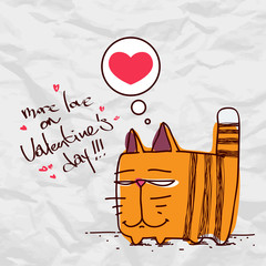 Valentine´s day greeting card with funny cartoon cat and heart