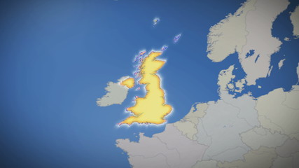 United Kingdom on map of Europe. Country pull out. Blue