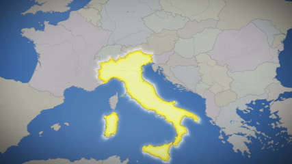 Italy on map of Europe. Country pull out. Blue