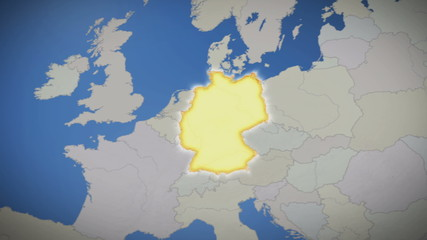 Germany on map of Europe. Country pull out. Blue