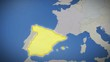 Spain on map of Europe. Country pull out. Blue