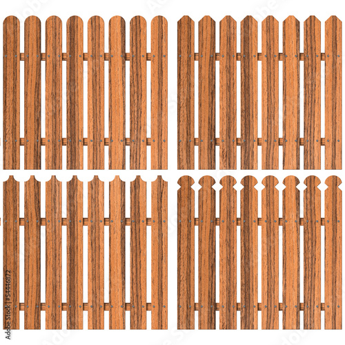 set of four wooden fences over white background
