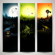 Set of three Halloween banners with copyspace