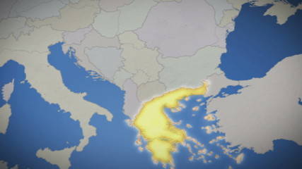 Greece on map of Europe. Country pull out. Blue