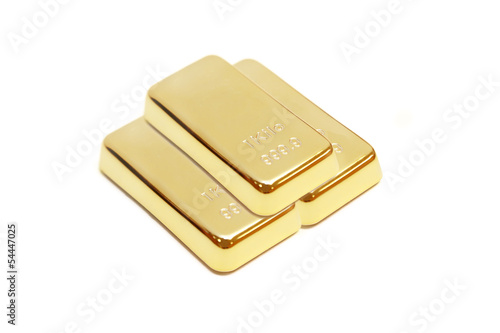 isolated pile of gold bar