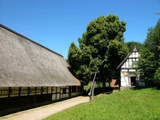 Bauernhof mit Nutzweg und grüner Wiese bei Detmold