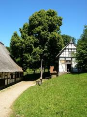 Altes Gehöft mit Fachwerkhaus und Scheune bei Detmold