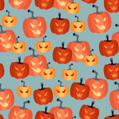 Halloween seamless pattern with pumpkins.