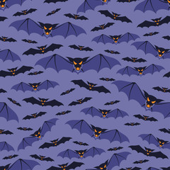 Halloween seamless pattern with bats.