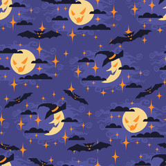 Halloween seamless pattern with moon.