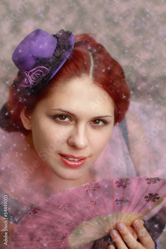 Lady in purple hat