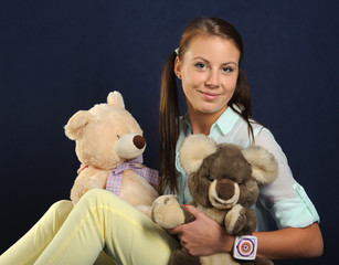 Woman with teddy bears
