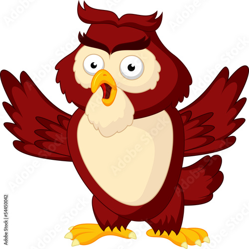 Cute owl cartoon waving wing