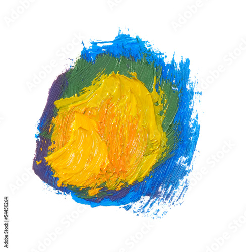 color paints isolated on white