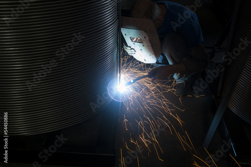 sparks coming out of welding torch