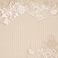 Abstract beige grungy floral background