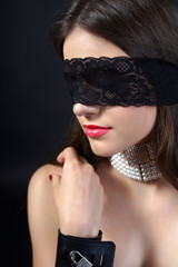 sexy girl blindfolded.