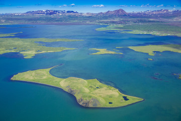Birdview of lake Mývatn, Iceland