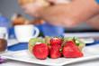 Fresh ripe strawberries for breakfast