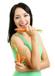 Girl with fresh carrot isolated on white