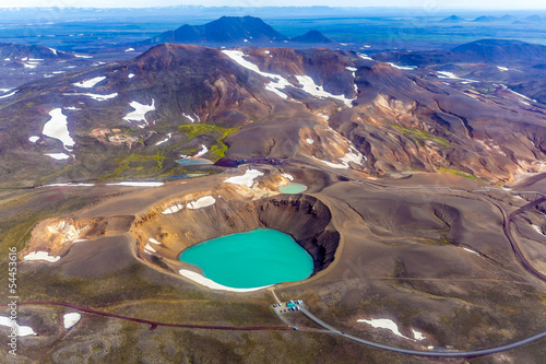 Birdview of Víti - Crater, Krafla area, Iceland