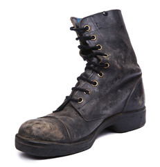Isolated Used Army Boot - Inner Diagonal