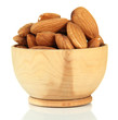 Almond in wooden bowl, isolated on white