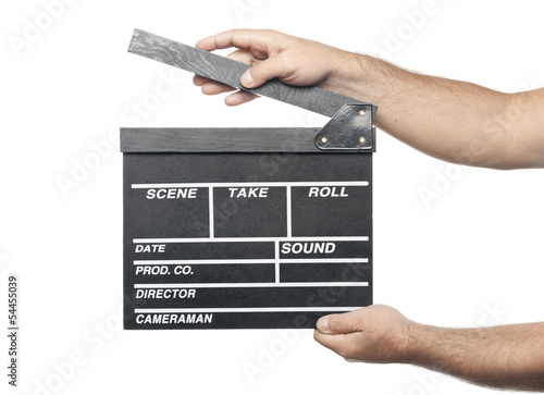 two male hands holding movie production clapper board isolated o