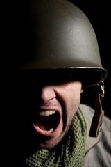 Screaming/Shouting WW2 American Soldier