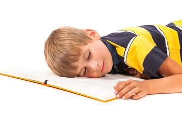 Tired schoolboy