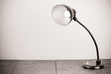Black retro desk lamp with lighting bulb