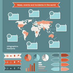 Infographics elements with map of the World