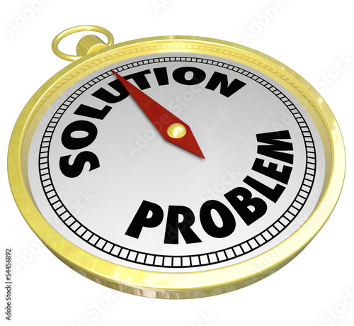 Problem Vs Solution Gold Compass Leading to Answer Challenge