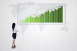 Bar chart with increasing trend and businesswoman - isolated