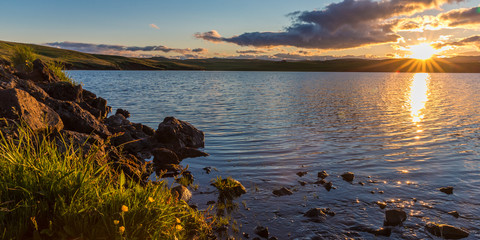 Sunset at a lake at Skaftárhreppur, Iceland