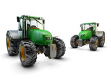 Two Modern green farm tractors isolated on white background