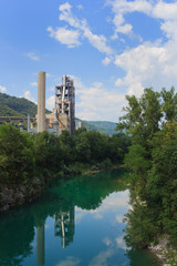 Industry next to the river in Slovenia