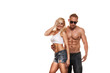 ortrait of young fitness couple on white background