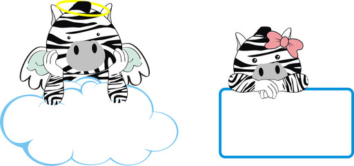 zebra angel baby cartoon copyspace