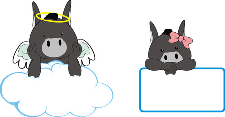 donkey angel baby cartoon copyspace