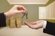 Hands of aWoman Handing Over House Keys Inside Empty Green Room