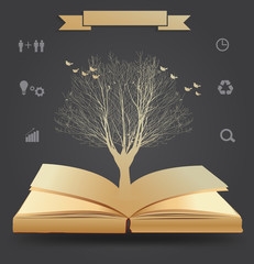 Vector tree silhouette on book