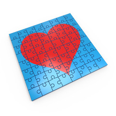 Puzzle with a red heart